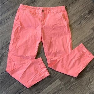 Broken in straight khakis in fluorescent pink
